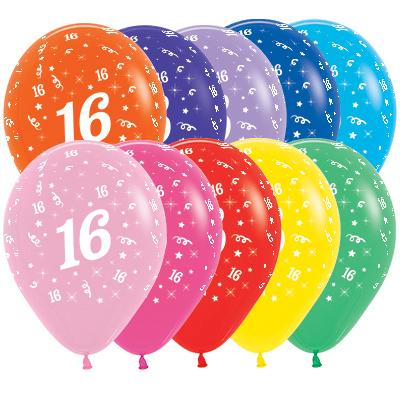 Sempertex 30cm Age 16 Fashion Assorted Latex Balloons, 25PK