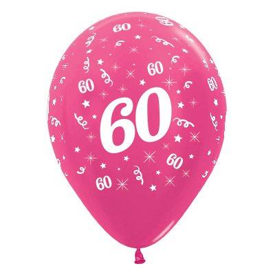 Sempertex 30cm Age 60 Metallic Fuchsia Latex Balloons, 25PK