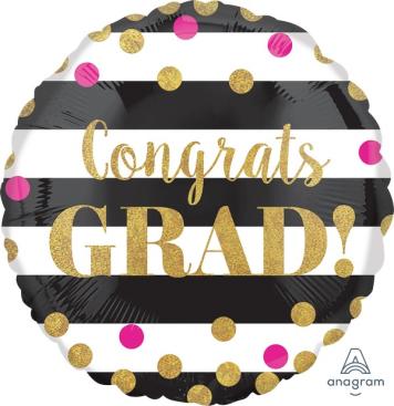 45cm Standard Holographic Gold Confetti Congrats Grad S55