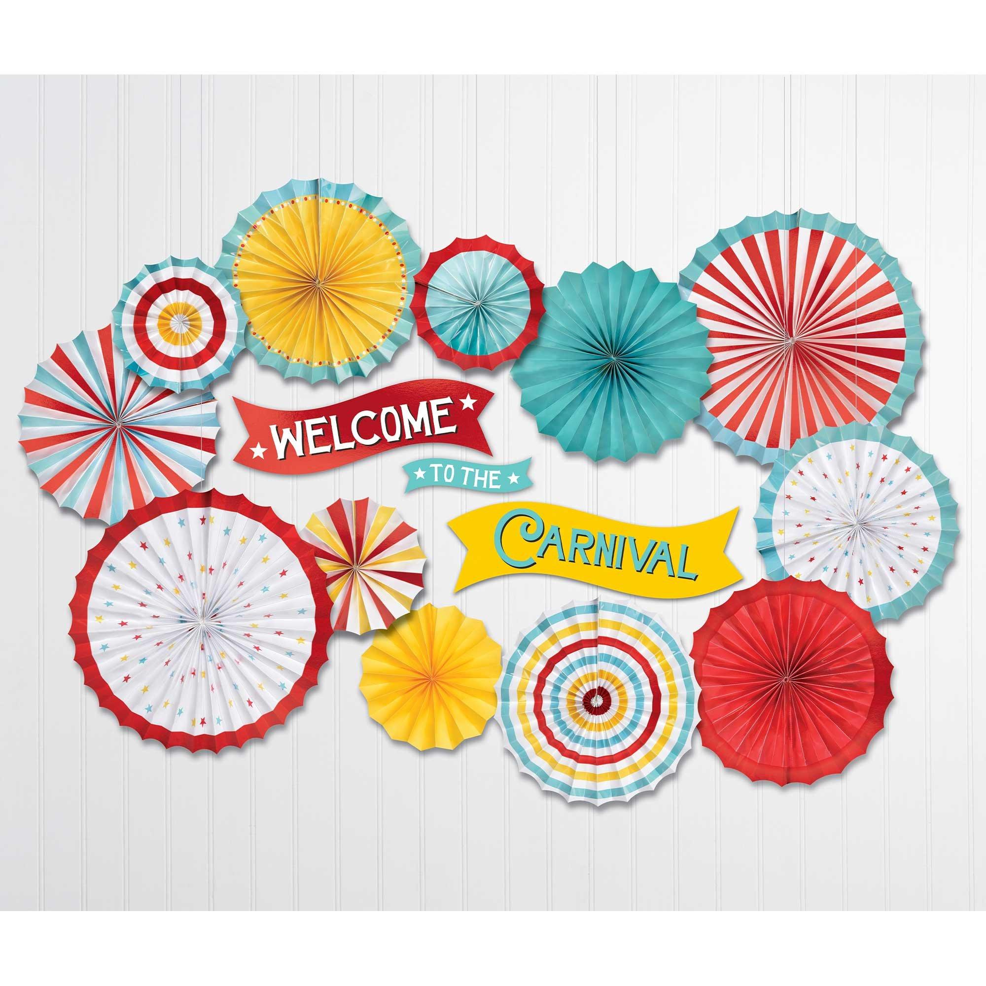 Carnival Paper Fans & Cutouts Decorating Kit