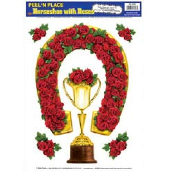 Horseshoe, Trophy Cup & Roses Peel & Place Clings