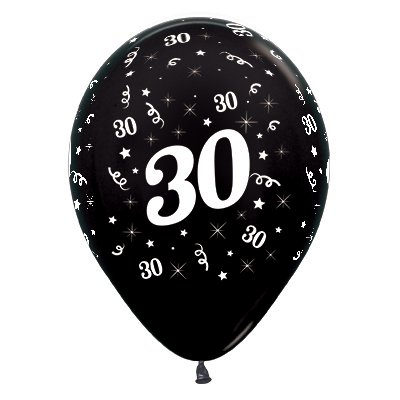 Sempertex 30cm Age 30 Metallic Black Latex Balloons, 25PK