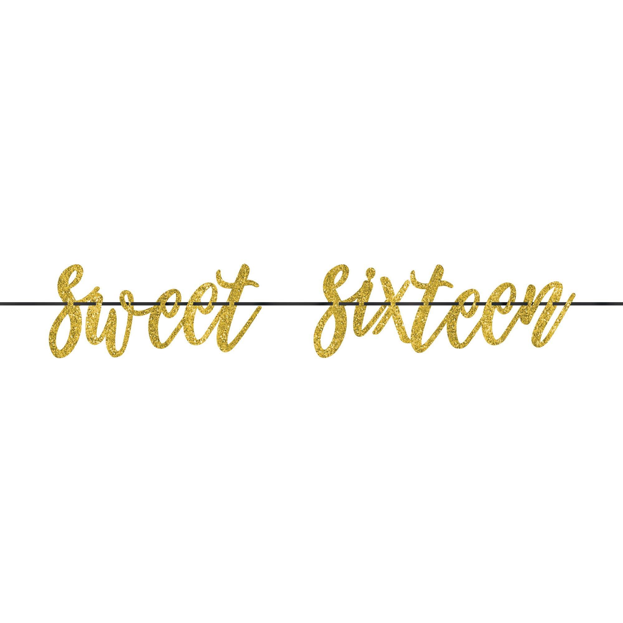 Elegant Sixteen Blush Gold Sweet Sixteen Glittered Ribbon Letter Banner