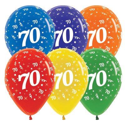 Sempertex 30cm Age 70 Crystal Assorted Latex Balloons, 25PK