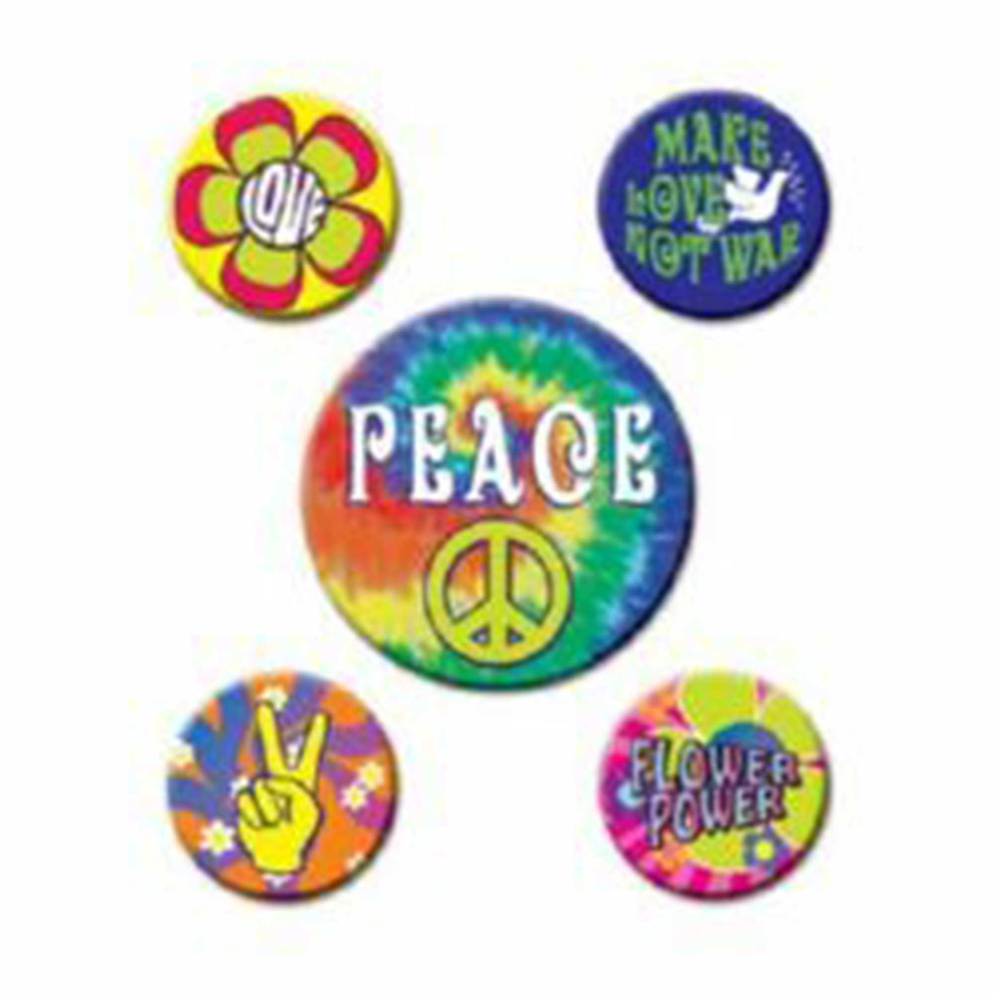 60's Party Peace Button Badges