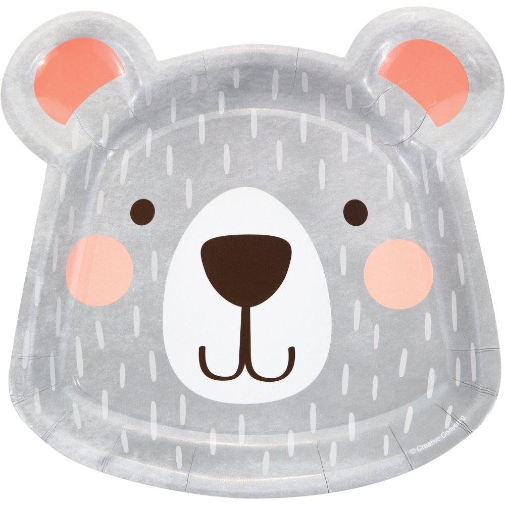 1st Birthday Bear Dinner Shaped Plates Paper 22cm