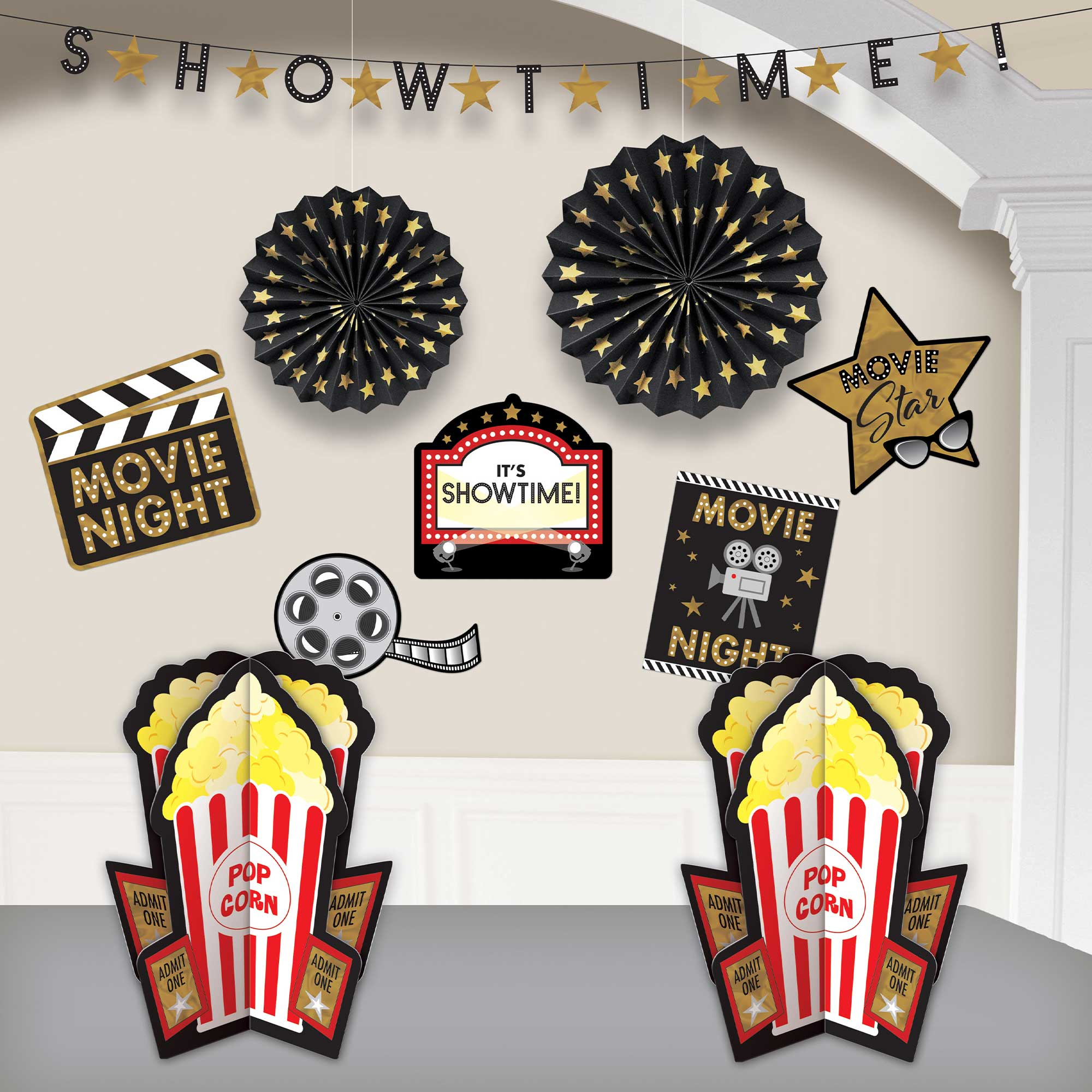 Glitz & Glam Movie Night Room Decorating Kit Hot-Stamped