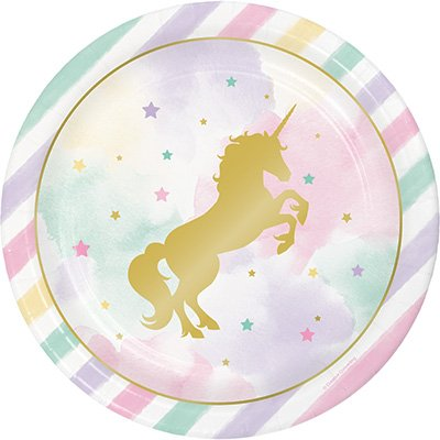 Unicorn Sparkle Dinner Plates Paper & Gold Foil Stamped 22cm