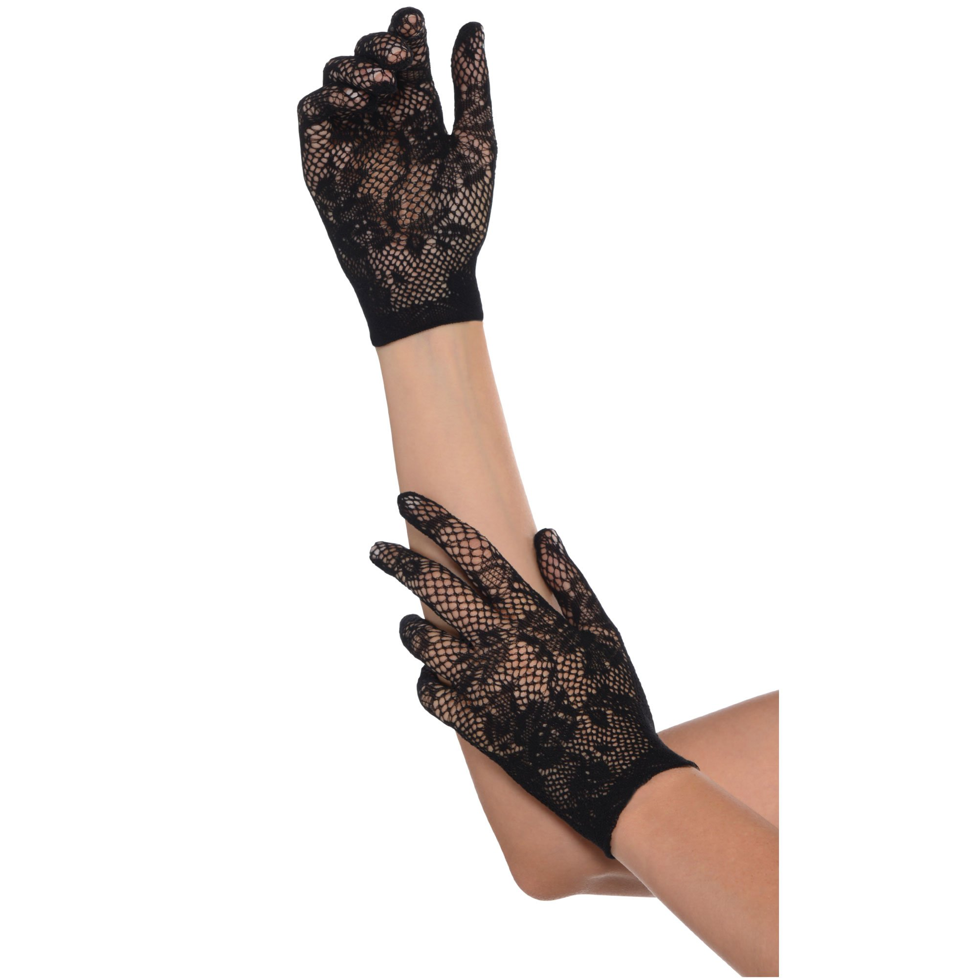 Floral Net Black Gloves