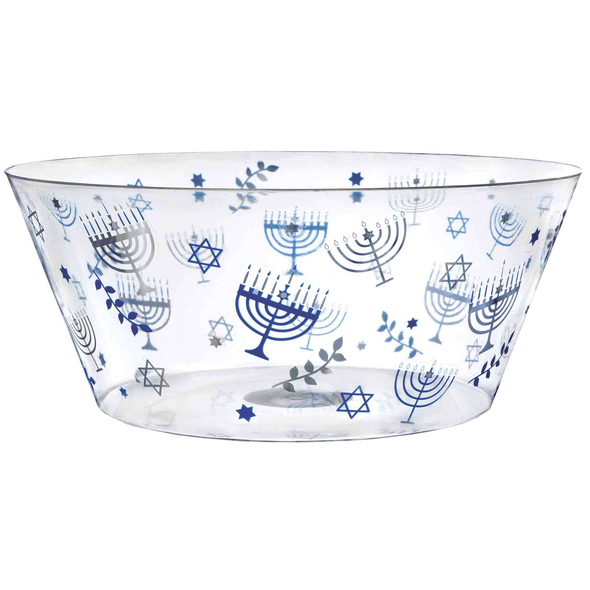 Hanukkah Plastic Serving Bowl Hot Stamped 3.5L