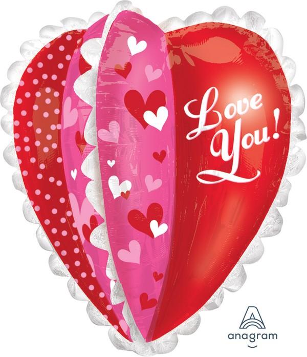 UltraShape Love You Panels Heart Foil Balloon