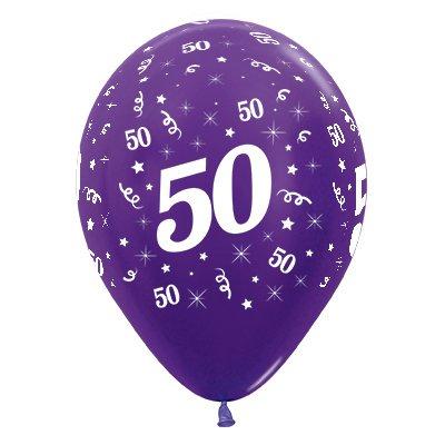 Sempertex 30cm Age 50 Metallic Purple Violet Latex Balloons, 25PK