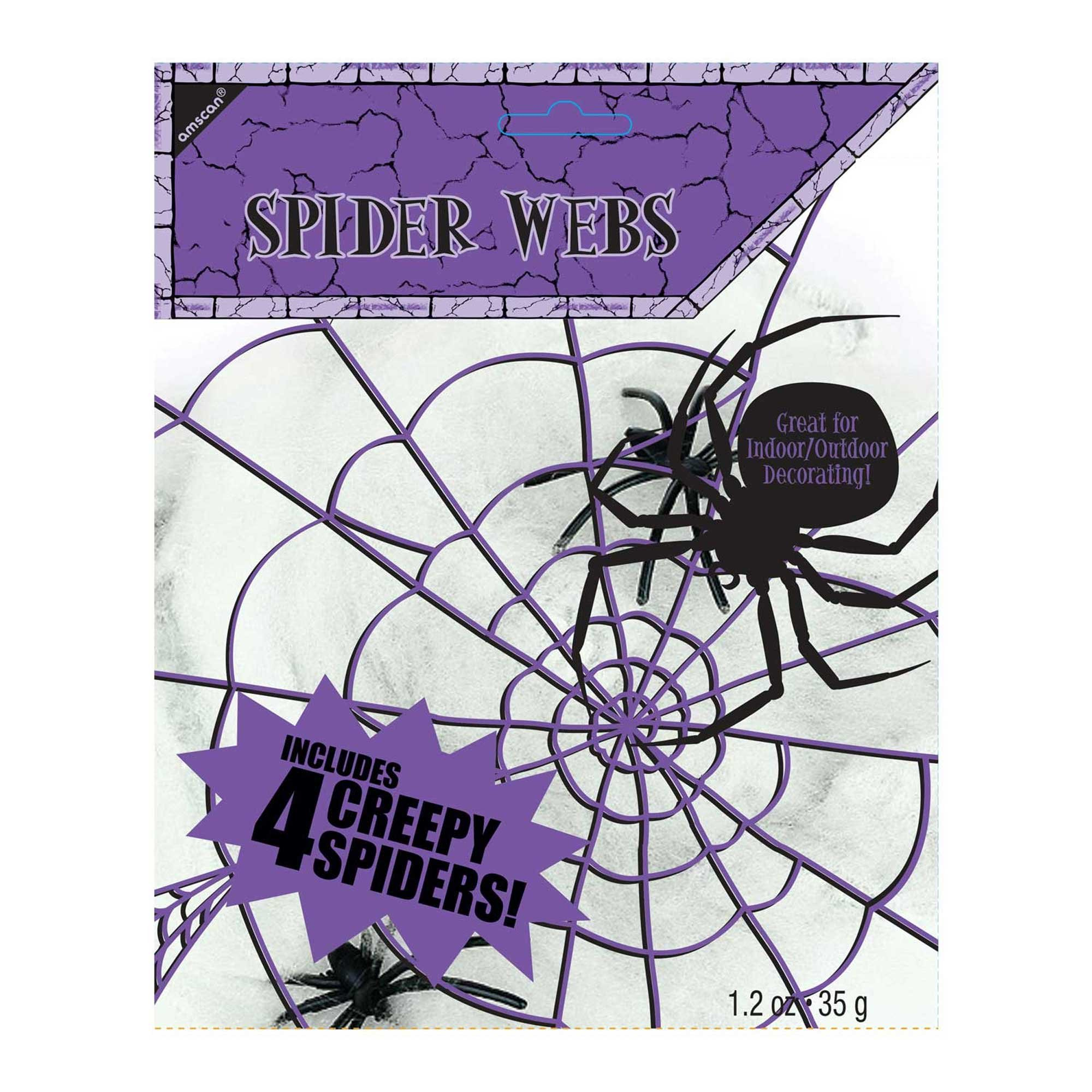 Spider Web Decoration Polyester White Small