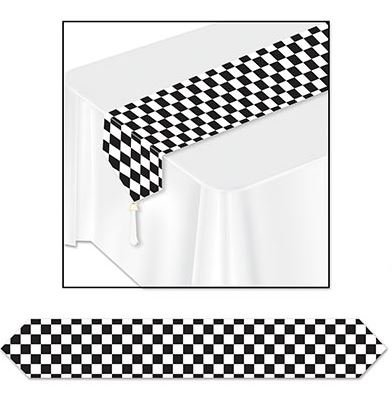 Checkered Black & White Table Runner