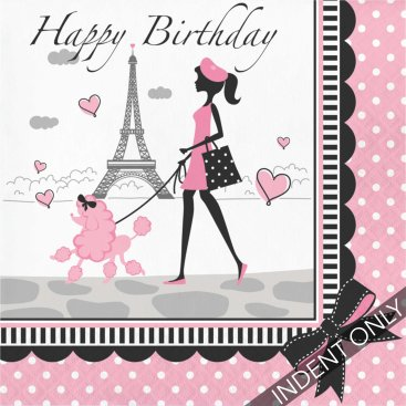 Party In Paris Happy Birthday Lunch Napkins