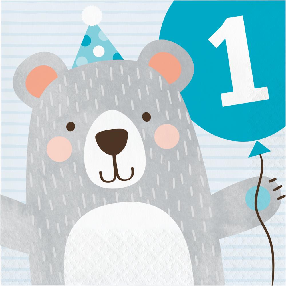 1st Birthday Bear Lunch Napkins 1st Birthday