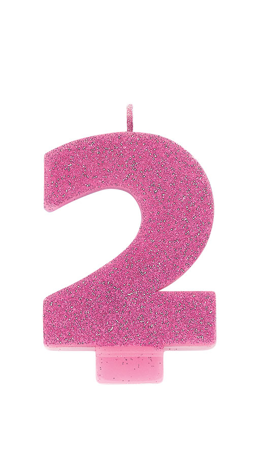 Candle Numeral Glitter #2 Pink