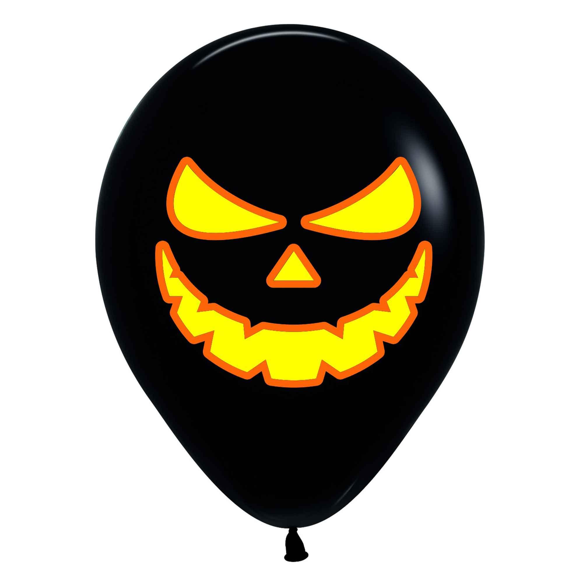 Sempertex 30cm Bright Pumpkin Scary Faces Fashion Black & Neon & Orange Ink Latex Balloons, 12PK