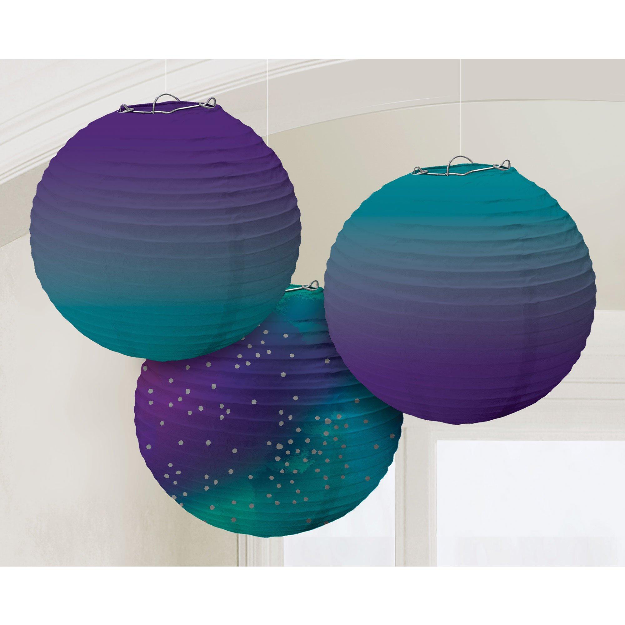 Sparkling Sapphire Ombre Round Paper Lanterns