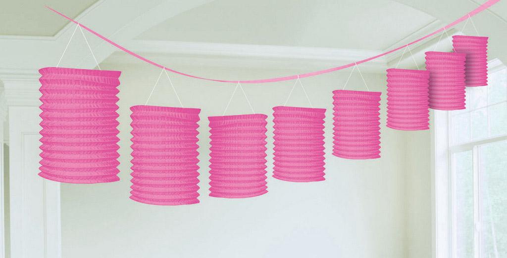 Paper Lantern Garland-Bright Pink