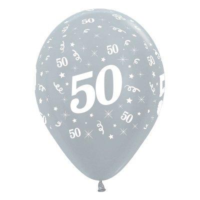 Sempertex 30cm Age 50 Satin Pearl Silver Latex Balloons, 25PK