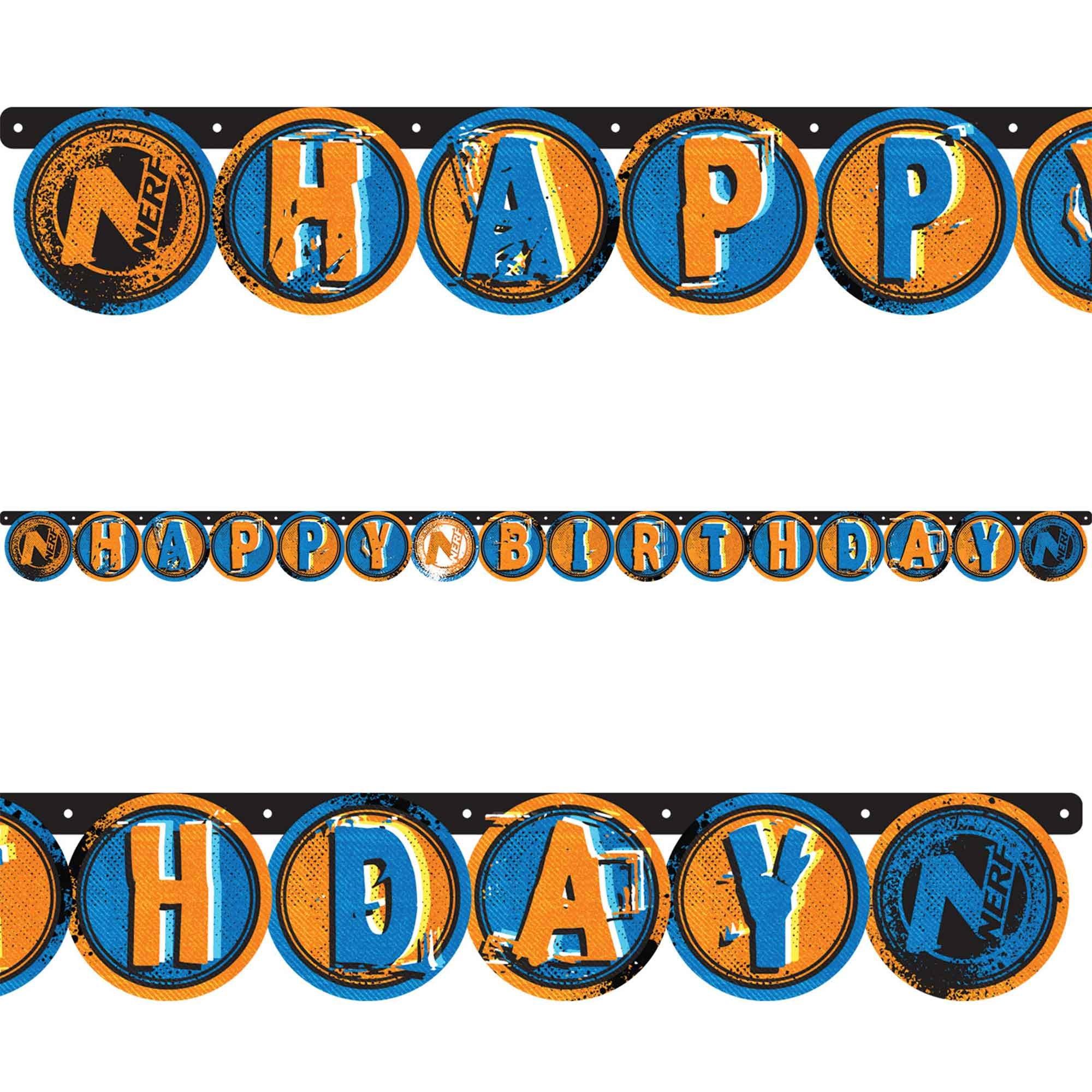 Nerf Letter Banner Happy Birthday 13cm x 2.18m