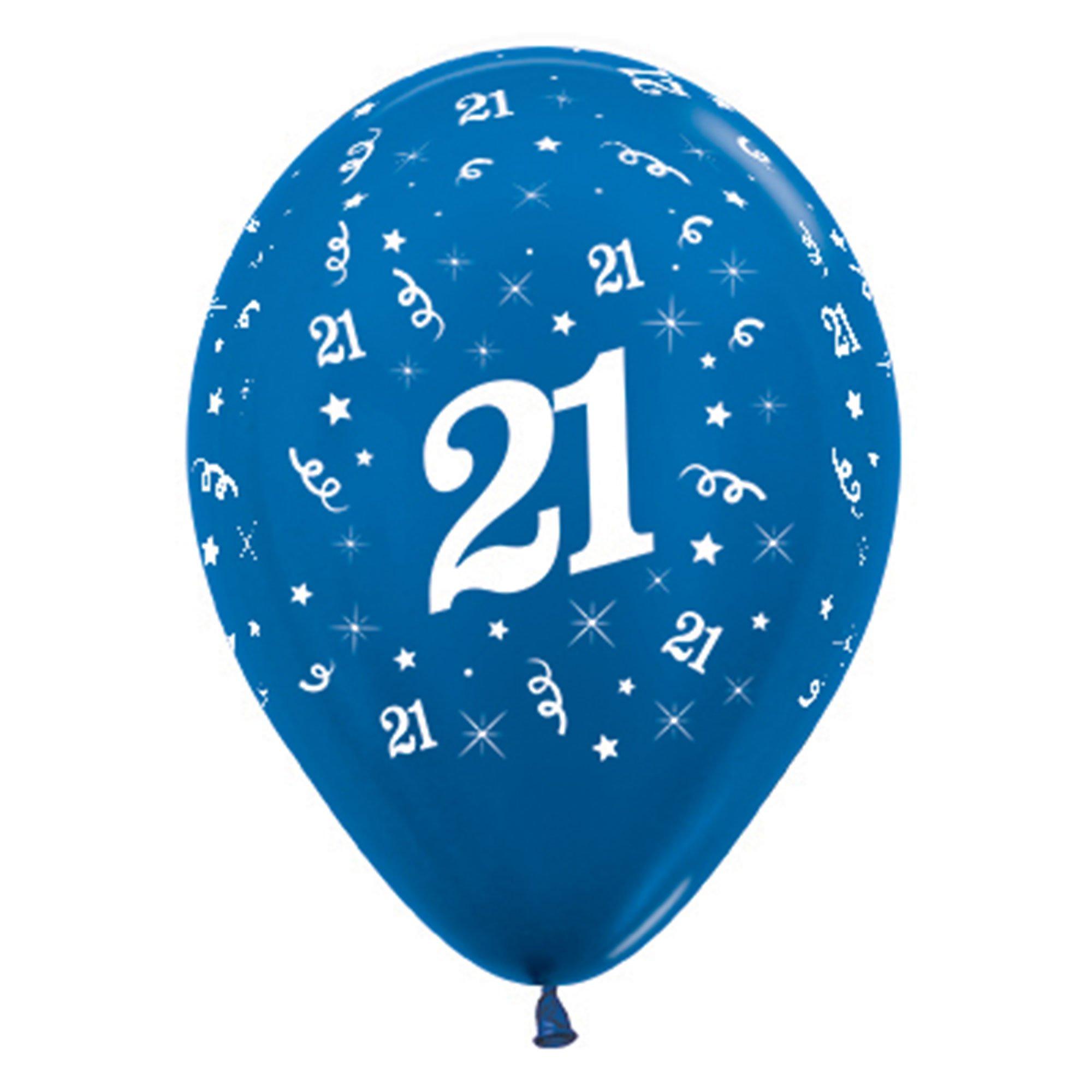 Sempertex 30cm Age 21 Metallic Blue Latex Balloons, 6PK