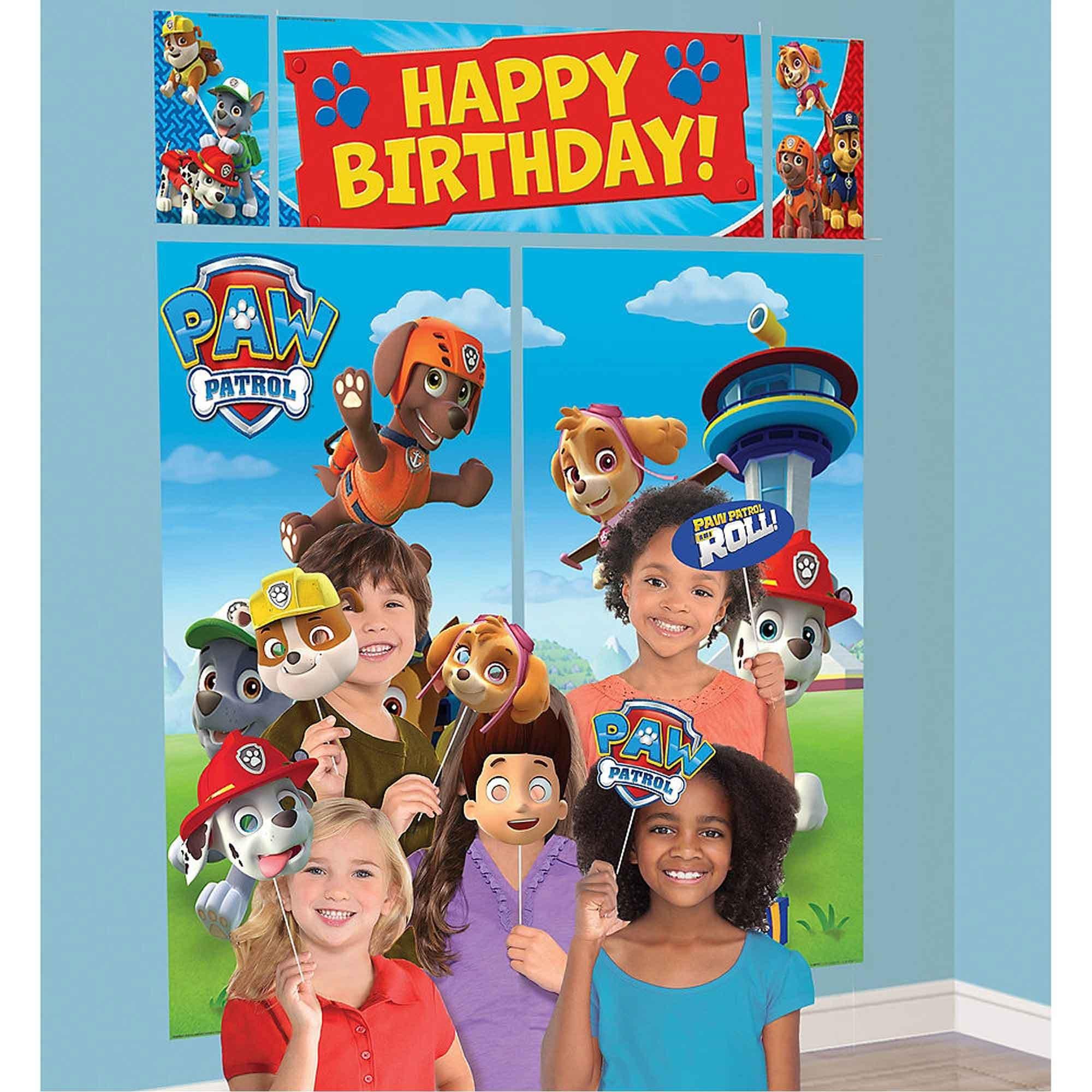 Paw Patrol Happy Birthday Scene Setter & Props                                  Plastic  - 2 x 82cm x 149cm, 1 x 111cm x 40cm, 2