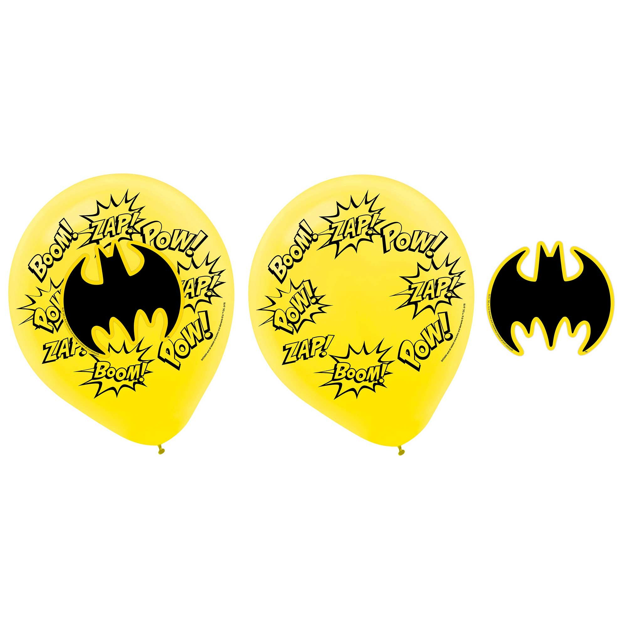 Batman Heroes Unite 30cm Latex Balloons & Paper Adhesive Add-Ons