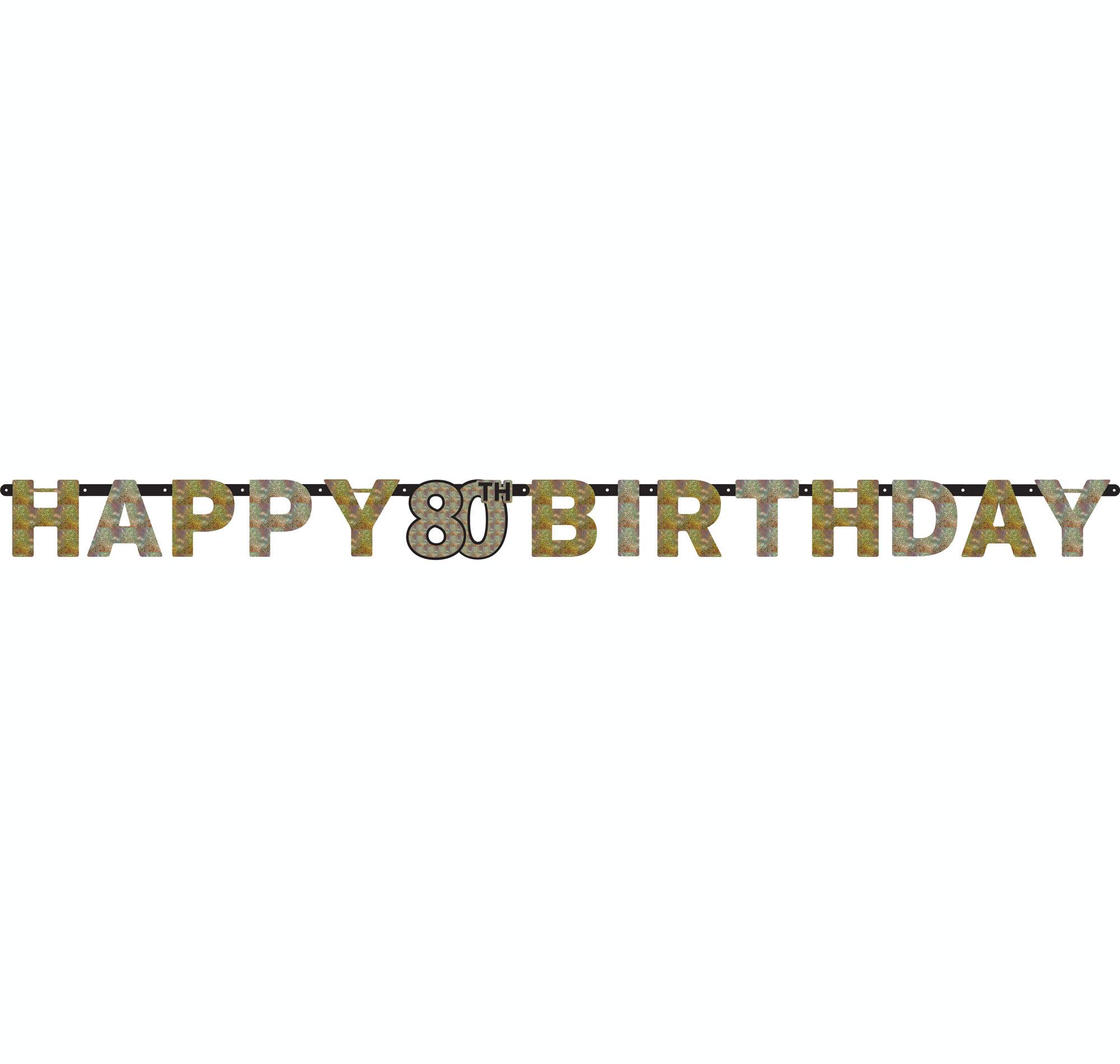 Sparkling Celebration Happy Birthday 80 Prismatic Letter Banner