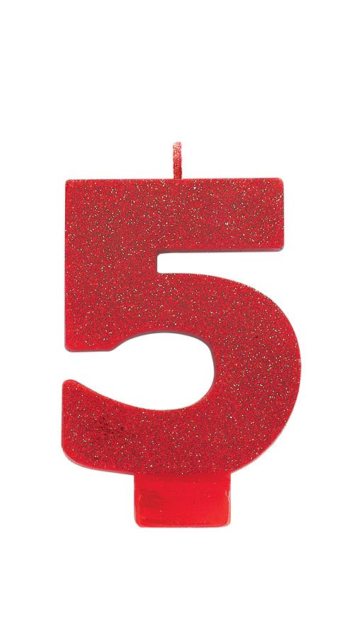 Candle Numeral Glitter #5 Red