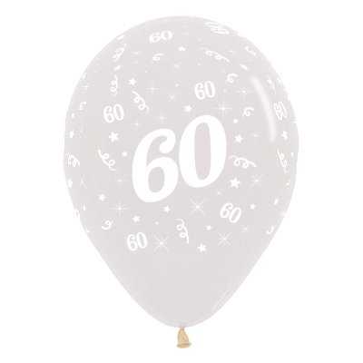 Sempertex 30cm Age 60 Crystal Clear Latex Balloons, 25PK