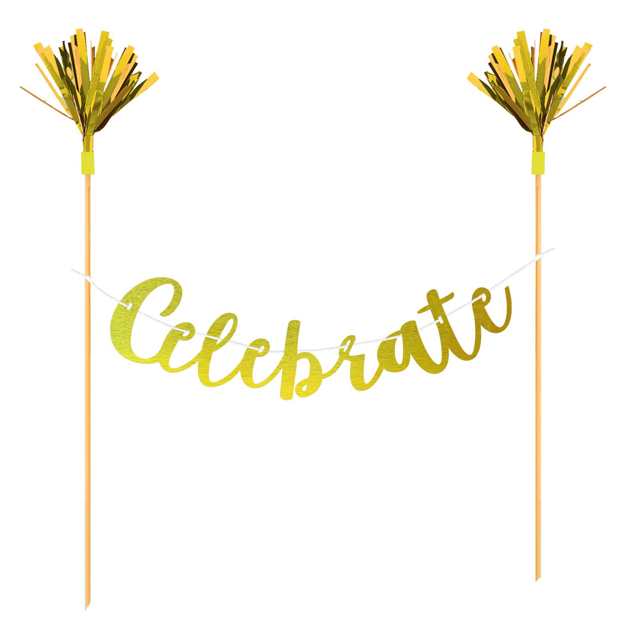 Cake Banner Topper Celebrate Gold Foil & Wooden Picks