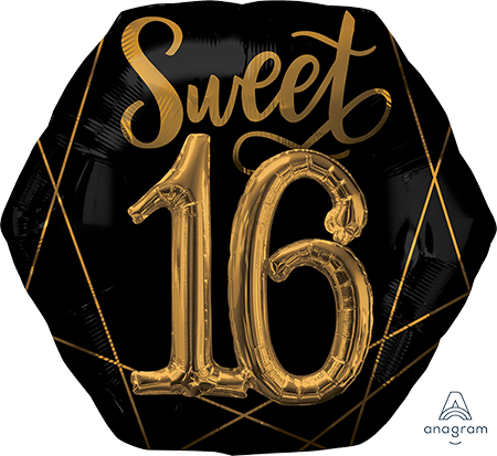 Multi-Balloon Elegant Sweet Sixteen Black & Gold P75