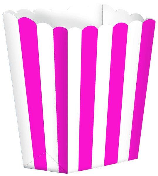 Popcorn Favor Boxes Small Striped Bright Pink