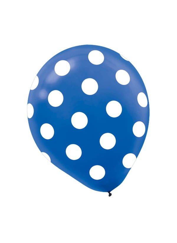 30cm Latex Balloon  Dots Royal Blue