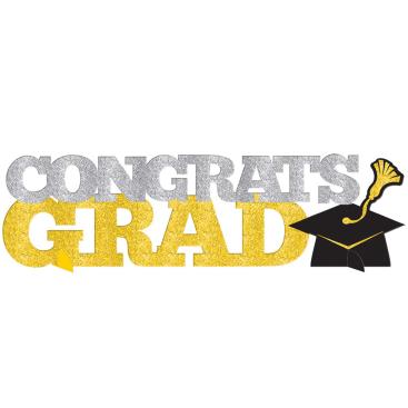 Congrats Grad 3D Centrepiece Sign Glitter Black, Silver & Gold