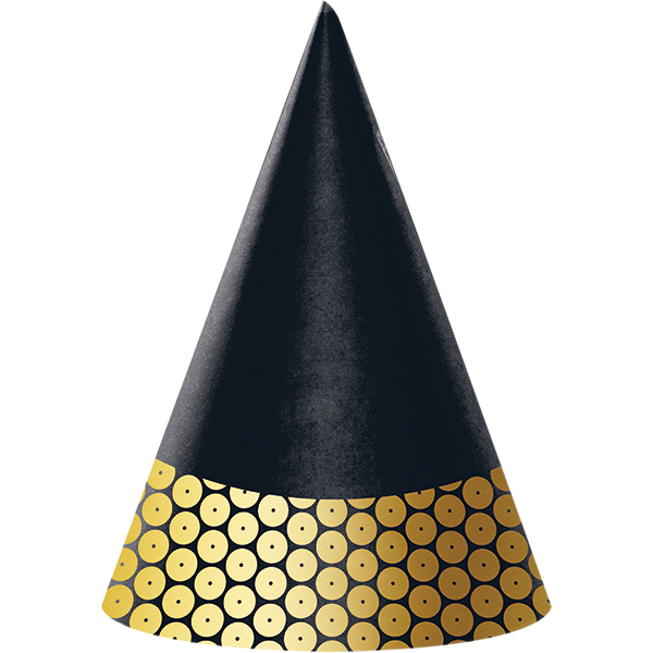 Gold Foil Decor Cone Shaped Hats