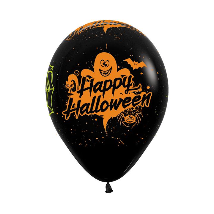 Sempertex 30cm Happy Halloween Party Fashion Black Latex Balloons 080, 12PK