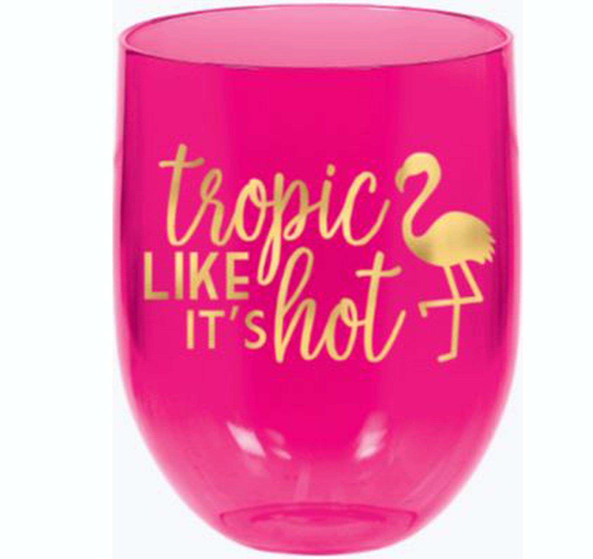 Aloha 15oz / 443ml Flamingo Stemless Wine Glasses