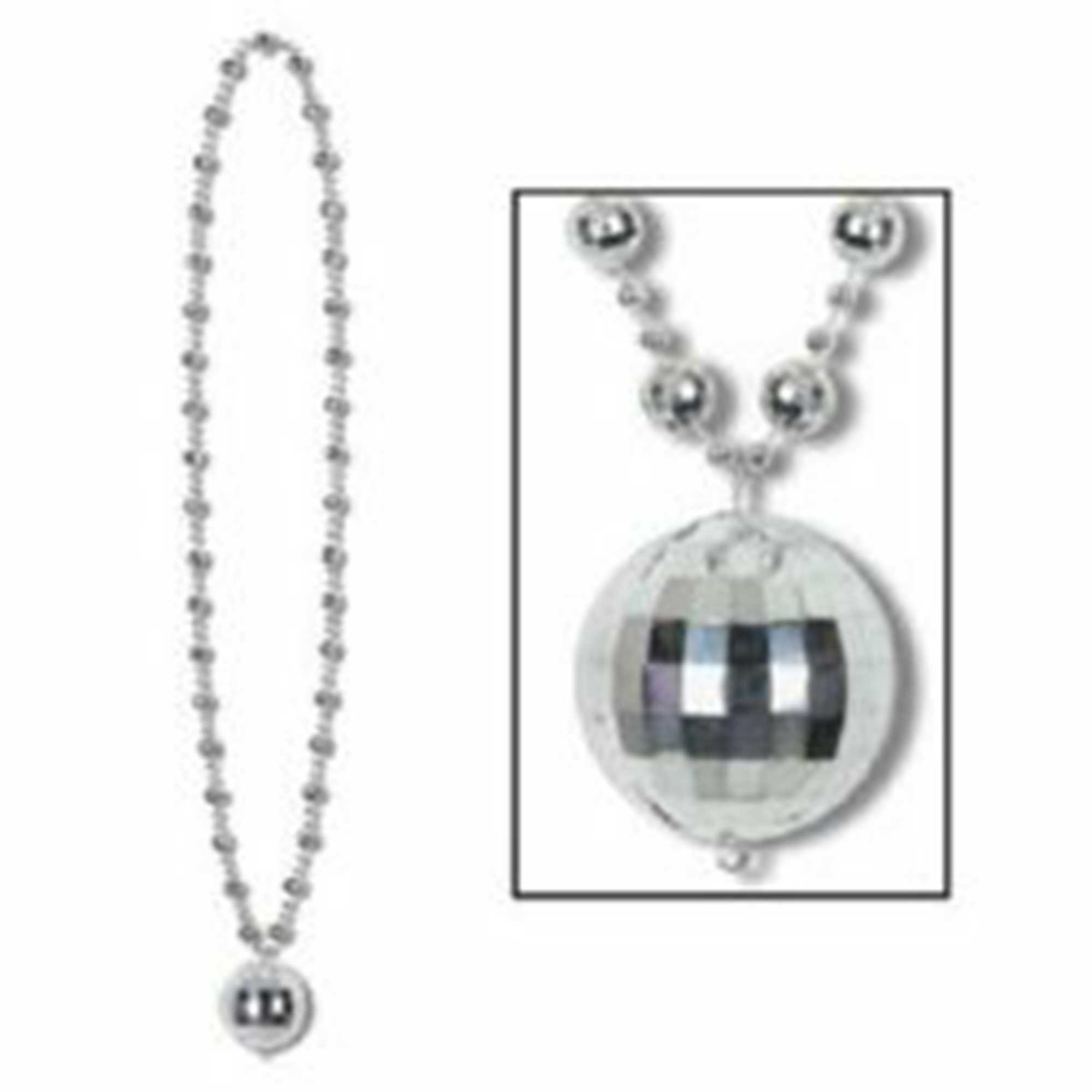 Disco Ball Beaded Necklace & Disco Ball Medallion
