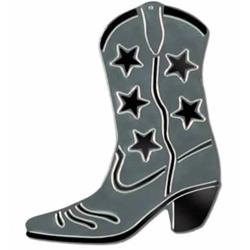 Cowboy Boot Silver & Black Stars Foil Silhouette Cutout
