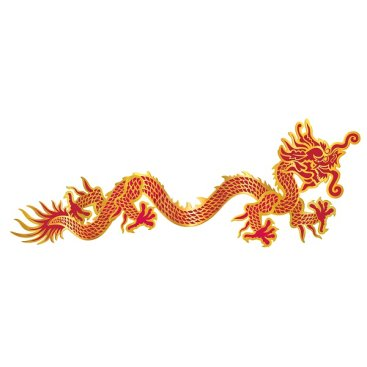 Asian Dragon Red & Gold Jointed Cutout