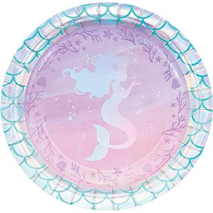 Mermaid Shine Iridescent Lunch Plates Paper 18cm