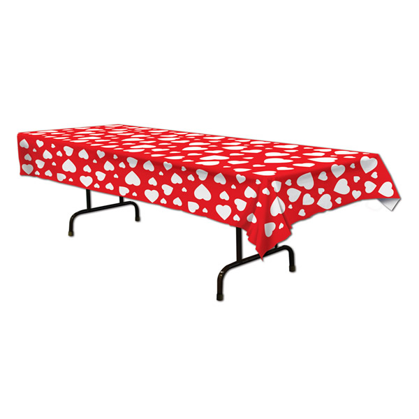 Hearts Tablecover Red & White Plastic