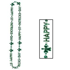 Happy St Patrick's Day Beaded Necklace