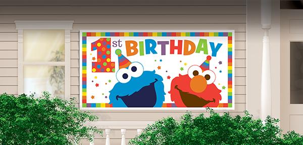 Elmo Turns One 1st Birthday Giant Horizontal Plastic Banner