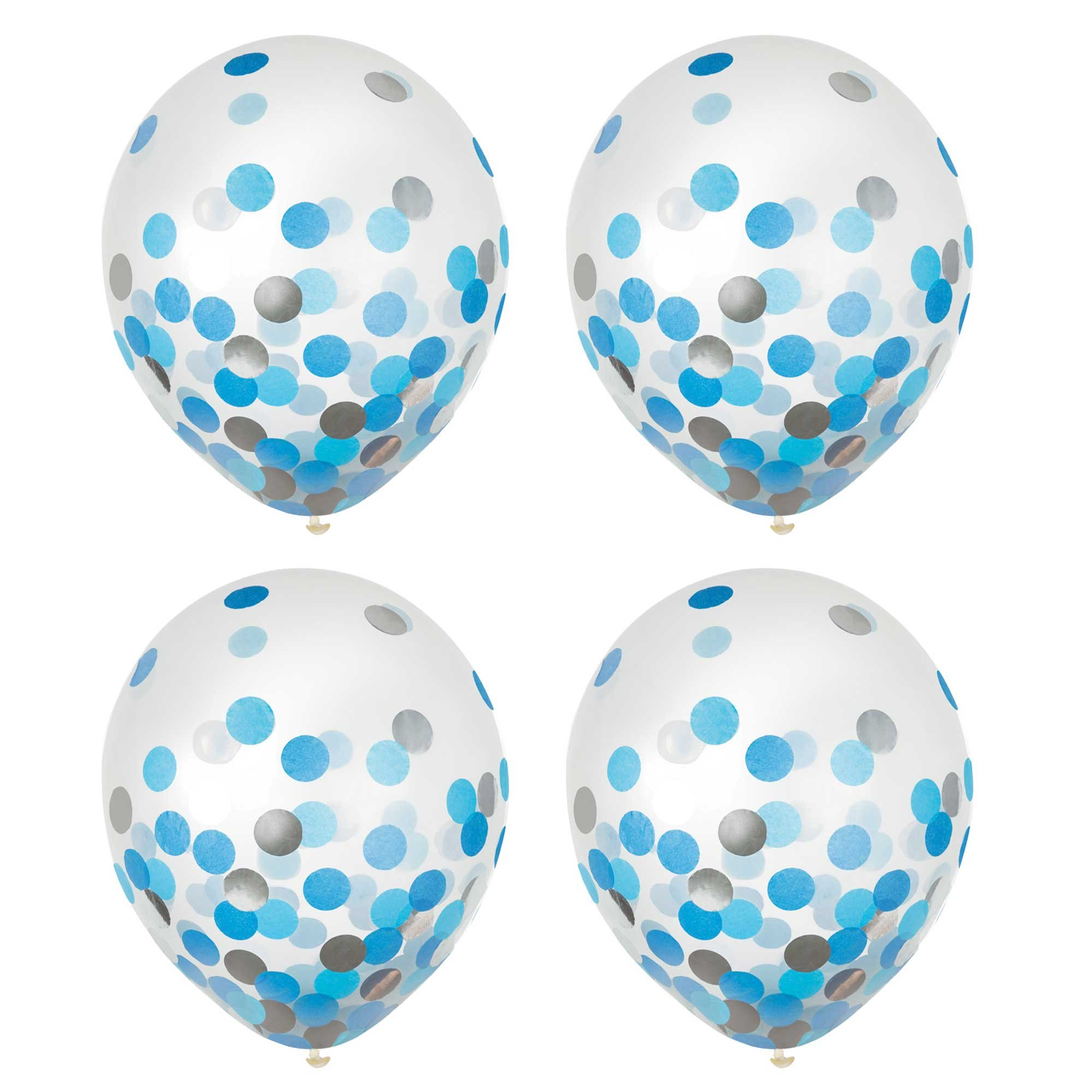 Latex Balloons 30cm & Confetti Blue & Silver