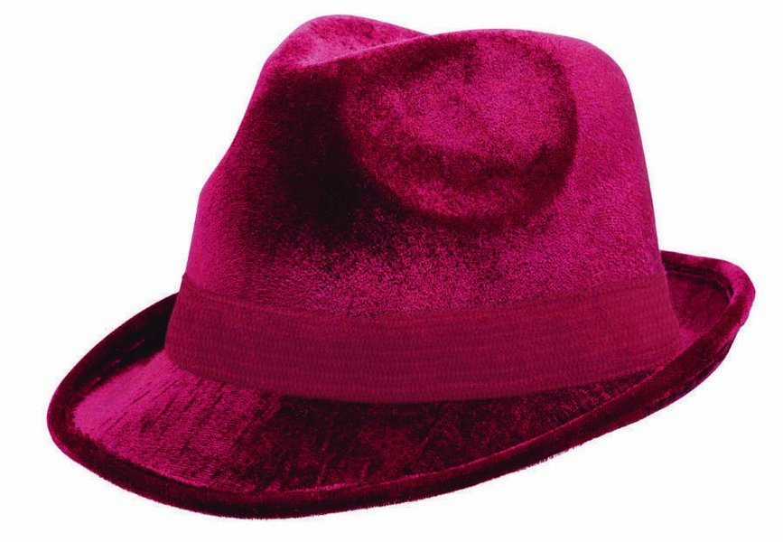 Fedora Velour Hat  - Burgundy