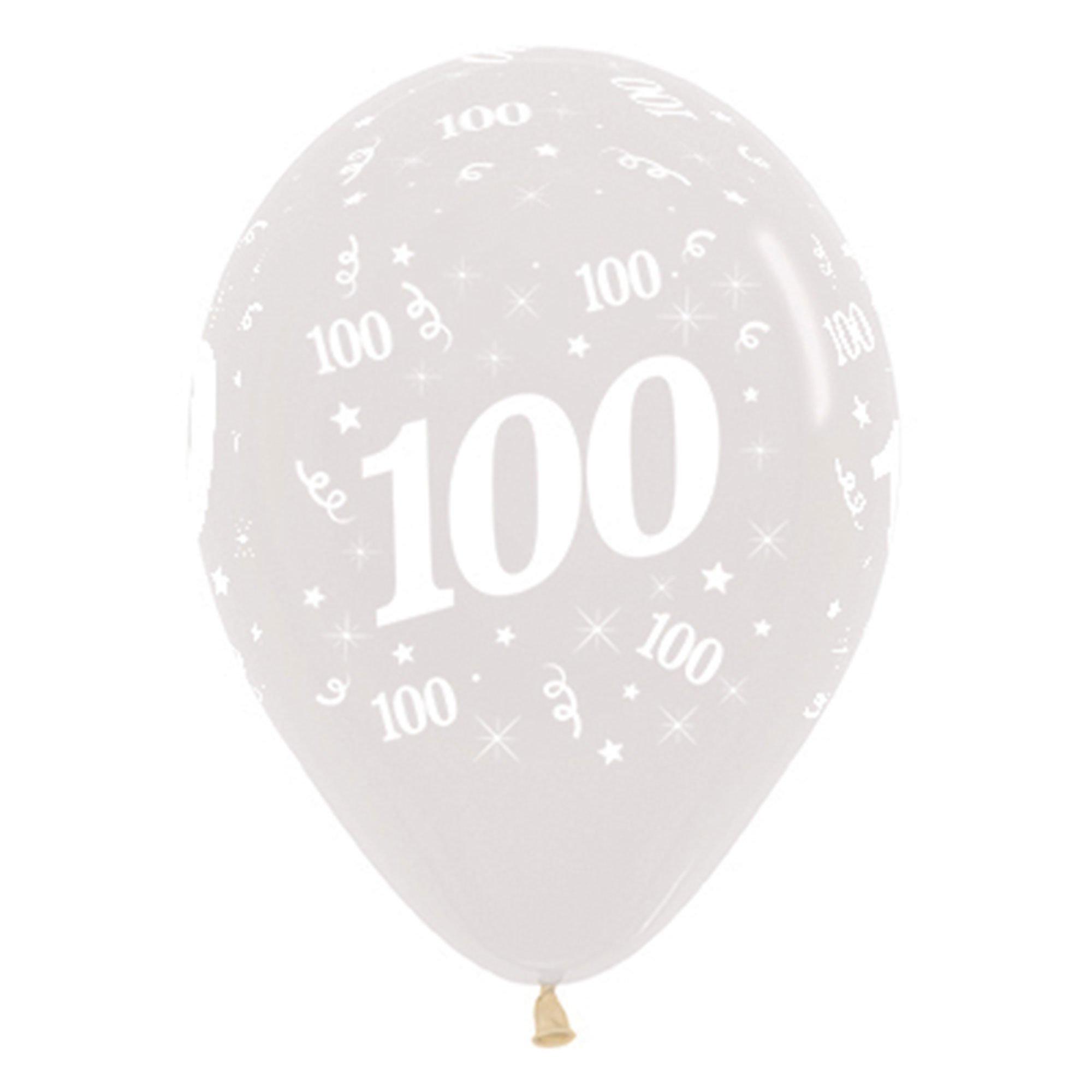 Sempertex 30cm Age 100 Crystal Clear Latex Balloons, 25PK